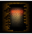 music neon light in the doorway of brick wall uno vector image vector image