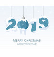 new year 2019 blue year number on white vector image vector image