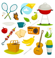 Outdoor picnic objects set summer holiday activity vector image