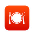 place setting with platespoon and fork icon vector image vector image