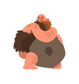 primitive muscular caveman with stone prehistoric vector image vector image