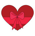 red heart-shaped present box with pink bow on a vector image