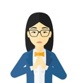 Regretful woman with clasped hands vector image