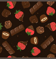 seamless pattern with chocolate and strawberries vector image
