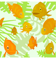 seamless pattern with fishes and algae vector image vector image