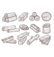 sketch lumber wood logs trunk and planks vector image vector image