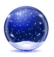 snow glass globe blue sphere with white vector image