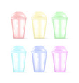 transparent colorful plastic empty disposable cup vector image vector image