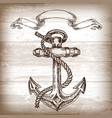 vintage anchor on wooden background hand drawn vector image vector image