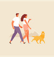 walking couple with dog vector image vector image