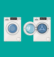 washing machine with open and closed door vector image vector image