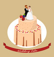 wedding cake with newlyweds vector image