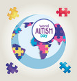 world autism day and planet vector image vector image
