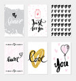 set wedding cards calligraphy for design vector image