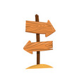 wooden arrow sign post right and left direction vector image