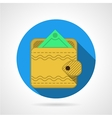 Yellow wallet flat icon vector image