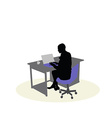 a business woman sitting at a desk vector image vector image