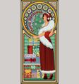 art nouveau xmas card with santa claus girl vector image vector image
