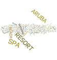 aruba resort and spa text background word cloud vector image vector image