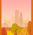 autumn city with golden trees vector image vector image