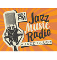 banner for jazz music radio with studio microphone vector image vector image
