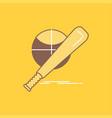 baseball basket ball game fun flat line filled vector image