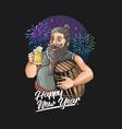 beard oldman new year celebration drink beer illus vector image vector image