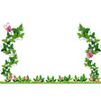 Border design with vine and butterflies vector image vector image