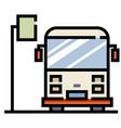 bus stop linecolor vector image vector image