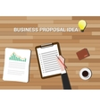 Business proposal idea in work desk wood vector image