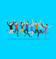 cartoon color jumping characters people on a blue vector image vector image