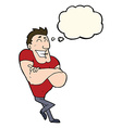 cartoon muscle guy with thought bubble vector image