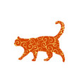 cat pet spiral pattern color silhouette animal vector image