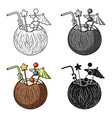 coconut cocktail icon in cartoon style isolated on vector image vector image