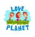 cute cartoon kids having fun outdoors love planet vector image