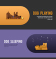 dog playing sleepeing web banner template vector image