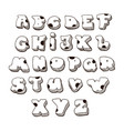 doodle font family comic alphabet fat vector image