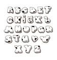 doodle font family comic alphabet fat vector image