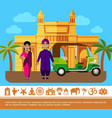 flat india travel colorful concept vector image vector image