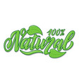 hand lettering natural food vector image vector image