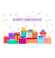 happy birthday card with gift boxes celebratory vector image