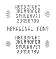 hexagonal font with numerals in normal and bold vector image