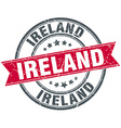 Ireland red round grunge vintage ribbon stamp vector image vector image