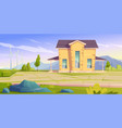 landscape with house and wind turbines vector image vector image