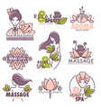 massage health and beauty spa center emblems set vector image vector image