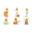 men and women hippie characters set people vector image