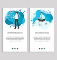 people working with laptop web business vector image vector image