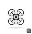 Quadrocopter simple monochrome icon vector image