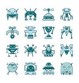 robot line icon set with displaced fill vector image