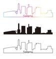 Saitama skyline linear style with rainbow vector image vector image